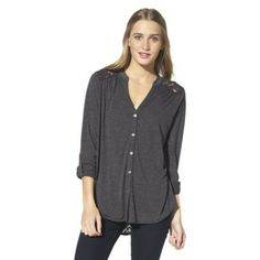 Xhilaration® Junior's Lace Detail Button Down Shirt - Assorted Colors