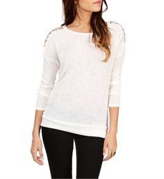 White Spike Studded Shoulder Long Sleeve Top