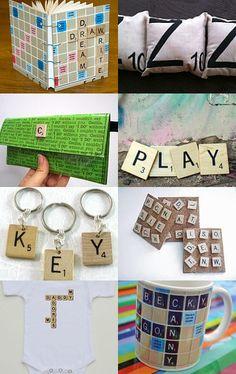 Scrabble letter keychains