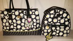 NEW BETSEY JOHNSON Daisy stripe shoppers TOTE &mini back pack+Crossbody  wallet | Clothing, Shoes & Accessories, Women's Handbags & Bags, Backpacks & Bookbags | eBay!