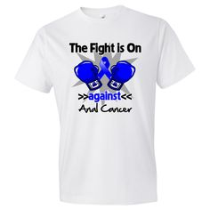 The Fight is on Against Anal Cancer powerful slogan on shirts, apparel and gifts featuring boxing gloves and an awareness ribbon to take a firm stand for awareness and advocacy. Ideal for awareness walks, support events, walks and more by AwarenessRibbonColors.com #AnalCancersurvivor  #AnalCancerawareness  #AnalCancershirts