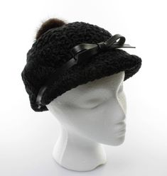 71cc560b244 Vintage Women s Black Persian Lamb Cap with Black Leather Band Bow and Fur  Button Vintage