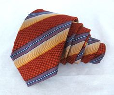 "Ermenegildo Zegna Tie Orange Checkered 3D Woven Striped 58.5"" 3.5"" Silk Necktie #BurberryLondon #NeckTie"