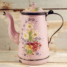 Your place to buy and sell all things handmade - Vintage French coffee pot pink enamel - Coffee Set, Coffee Love, Coffee Cups, French Antiques, Vintage Antiques, Service Assiette, Enamel Cookware, French Coffee, Vintage Enamelware