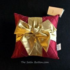 2013 Woof N Poof Christmas Pillow Red Roma with Gold Bow