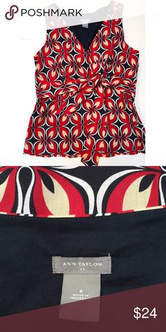 Ann Taylor Red & Black Print Sleeveless Top NWOT. Beautiful top. Fully lined with hidden side zip. Pretty tie detail at the waist makes it super flattering. 100% cotton. Comes from a smoke- and pet-free house. Bundle for additional savings! Ann Taylor Tops Blouses