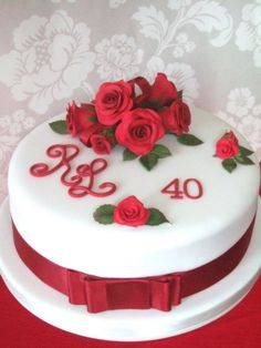 Ruby Wedding Cake with red roses Bristol, Pretty Amazing Cakes, wedding and celebration cake design