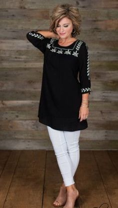 Amelia tunic - black mature fashion, 50 fashion, fashion over glamour farms Over 60 Fashion, Mature Fashion, Over 50 Womens Fashion, 50 Fashion, Fashion Outfits, Fashion Trends, Autumn Fashion, Clothes For Women Over 50, Chic Outfits