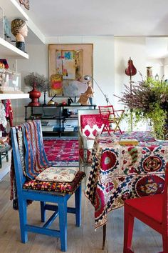 More is more: multi-tonal ikat-inspired prints complement one another instead of clashing.   - HarpersBAZAAR.com #modernvintagechichome