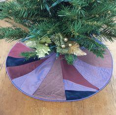 "21"" Mini Christmas Tree Skirt Plum Purple Amethyst Silk Burgundy Victorian Steampunk, crazy quilt kit, small tabletop by FeeneyLane on Etsy"