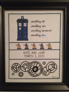 A Dr Who cross stitch sampler I made for my daughter's roommate's wedding.  My thanks to the following crafters for the original patterns that I combined/modified: CraftyCompanion (Etsy) happycupcakeplush (Etsy) blogfacedgirl.blogspot.com