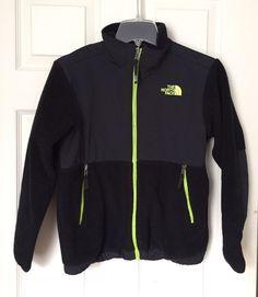 The North Face Denali Black Neon Green Zipper Fleece Jacket sz Boys M 10-12  #TheNorthFace #FleeceJacket