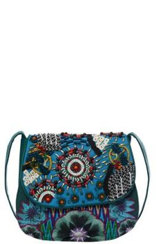 Desigual women's Jacky Manigua bag, ethnic-inspired style with handmade embroidery and endless beads that form the external design. Snap button fastening.
