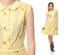 1950s Day Dress Yellow Gingham Lucky CLOVER Print by ShopExile, $65.00
