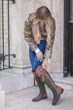 Spanish Riding Boots Suede in gorgeous two tone green & camel. These boots are made of the softest suede with a good year welted leather sole paired with the stunning Egality Freedom Limited Edition Hunt Print Jacket.