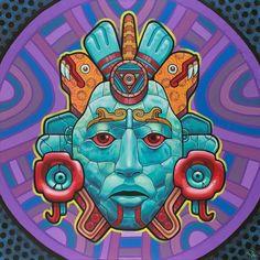 Xochicoatl Art Print by Rilke Guillen - X-Small Dessin Aztec, Aztec Culture, Mexico Art, Psy Art, Aztec Art, Chicano Art, Chicano Tattoos, Street Art Graffiti, Psychedelic Art