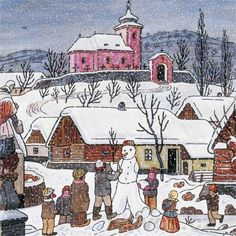 Grandma Moses, Christmas Scenes, Christmas Snowman, Naive Art, Children's Book Illustration, Art World, Illustrators, Folk Art, Czech Republic