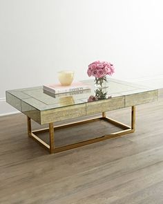 Metallic gold and mirrored table ...... Delphine Coffee Table by Jonathan Adler