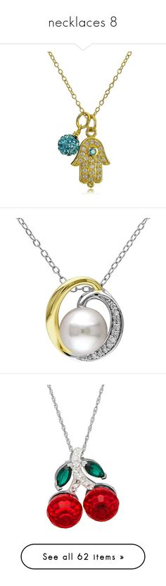 """""""necklaces 8"""" by thesassystewart on Polyvore featuring jewelry, necklaces, aqua, hamsa pendant necklace, gold tone chain necklace, hamsa charm necklace, charm pendant, pendant chain necklace, white and round pendant necklace"""