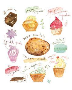 Cake poster, Watercolor illustration, Kitchen print, Food art, Bakery