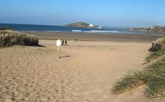 Bantham beach: view to Burgh Island and Bigbury South Devon Devon Uk, South Devon, Devon England, Devon And Cornwall, Sailing Classes, Devon Beach, Devon Holidays, Cornwall Beaches, Learn To Surf