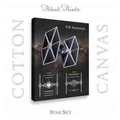 Star Wars TIE Fighter Patent professionally printed on museum quality cotton canvas. TIE Fighter canvas is available in various sizes and background colors. Western Wall Decor, Wall Art Decor, Wall Art Prints, Poster Prints, Star Wars Prints, Tie Fighter, Star Wars Tshirt, Star Wars Poster, Patent Prints