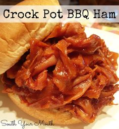 Crockpot Barbequed Ham Sandwiches