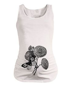 White Butterfly & Flowers Maternity Tank