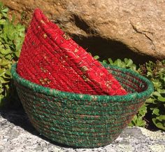 Fabric wrapped coiled rope bowls by Andrea