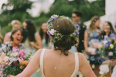 A 1960's Inspired Gown And Pretty Flower Crown For A Home Garden, Vintage Style Wedding