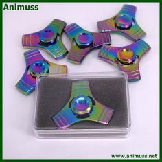 Rainbow Stainless Metal Tri Hand Spinner Fidget Ceramic Bearing EDC Desk Toy Finger Gyro