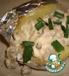 Запеченный картофель с сырно-грибным соусом