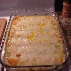 Honey-Lime Chicken Enchiladas  Spicy-sweet, cheesy chicken enchiladas are baked in a casserole and served hot.