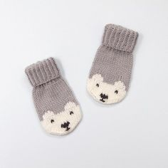 Penelope Polar Bear Mittens Knitting pattern by Amy Philip Knit Mittens, Mitten Gloves, Crochet Baby Mittens, Knitted Mittens Pattern, Free Crochet, Toddler Mittens, Paintbox Yarn, Baby Knitting Patterns, Knitting Kits