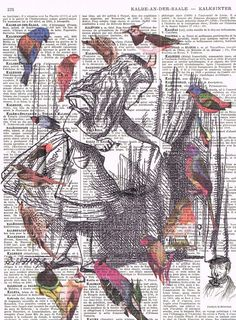 Alice in WonderlandBirds.Antique French Book by studioflowerpower