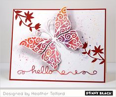 I have more Penny Black prettiness to share today, this time of the creative die variety. There are so many beautiful dies in the new release and this butterfly is one I will probably reach for aga. Penny Black Cards, Penny Black Stamps, Butterfly Cards, Butterfly Flowers, Butterflies, Homemade Greeting Cards, Die Cut Cards, Card Making Inspiration, Card Maker