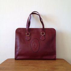 Cartier Purse Vintage Bag 70s Leather Tote Bordeaux Les Must De Paris 1975