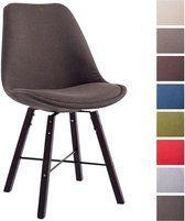 bol.com | Clp Design retro bezoekersstoel LAFFONT eetkamerstoel, kuipstoel - hout cappucino, stof...