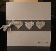Stunning grey card wedding hearts