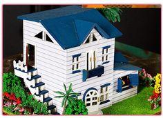 13015 средиземноморский домов дерево 3d ручной работы своими руками кукла дом миниатюрное кукольный домик аксессуарыкупить в магазине Fujian coast Happiness Ltd.наAliExpress
