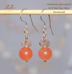 925 Sterling Silver light earrings with gemstone & crystals. http://stores.ebay.ie/SilverTrend4U?_rdc=1