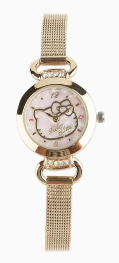This Hello Kitty watch features a pale pink pearlized face with simple Hello Kitty motif.