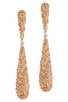 """3 1/2"""" Peach/Rose Gold Elongated Pave Drop Posted Earring."""