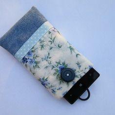 Housse/étui de téléphone portable molletonnée et doublée  ou pochette pour lunettes bleu / idée cadeau de noël