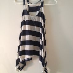 White and navy tank with pocket Long tank with extra long sides Cecico Tops Tank Tops