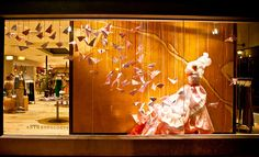 Anthropologie window display. They should win an Oscar for visual merchandising.  I'll never forget a bath display in Santa Barbara where they did it all white with thick tiles (closer look:  all Dove Soap Bars!)  Just amazing.