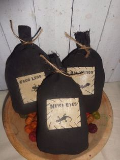 3 Primitive Grungy Witch Potion Spell Bags Ornies Bowl Fillers Halloween #NaivePrimitive #handmade