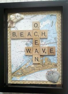 A Seaside Home Blog II of III DIY projects with seaside treasures.This is one of my favorite picture/shadow box ideas.  A map of where your memories were made, the scrabble tiles (you could spell out your name) and your favorite shells makes this uniquely yours. #ASeasideHome