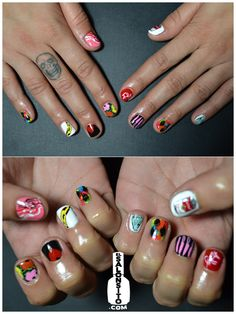 Andy Warhol nail art. I need a friend with this kind of talent. via elsalonsito.com