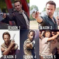 Evolution of Rick Grimes - The Walking Dead Season 1 through Season 5 - TWD - Andrew Lincoln Walking Dead Zombies, Walking Dead Season, The Walking Dead Saison, Walking Dead Memes, Fear The Walking Dead, Andrew Lincoln, Rick Grimes Season 1, Dead Pictures, Animal Pictures
